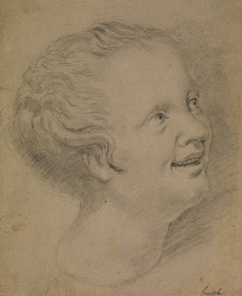 Head of a laughing child