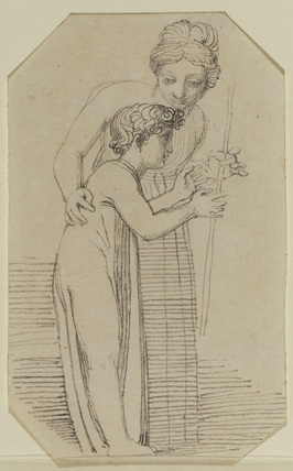 Draped female figure with her arm round a figure of a young boy