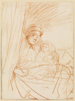 Saskia(?) sitting up in bed, holding a child