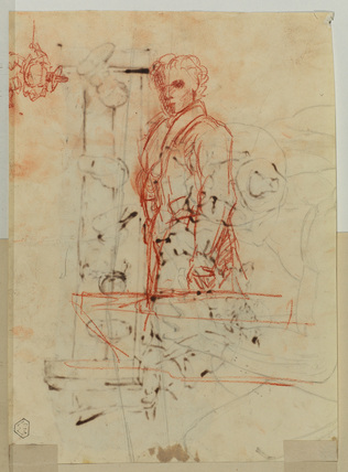 Sketches of young men (verso)