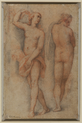 Studies of two female nudes (verso)