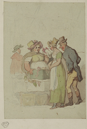 Man and woman at a millinery stall