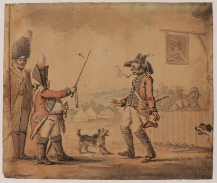 Soldier, leaving a tavern, confronted by an officer