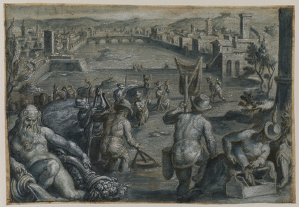 Fishing on the river Arno, Florence