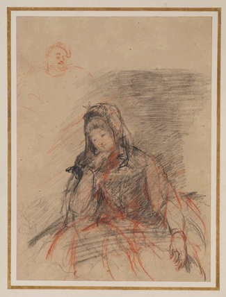 Sketch of a seated woman, with a small sketch of a head of a man