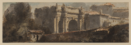 View of a Roman triumphal arch and other buildings