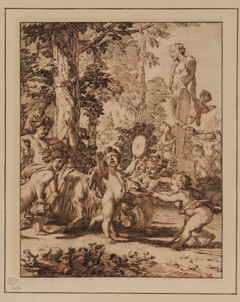 Infant Bacchus at a feast