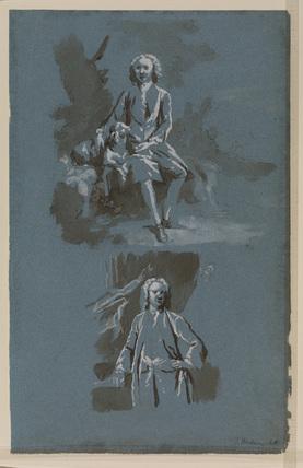 Two studies for a portrait composition