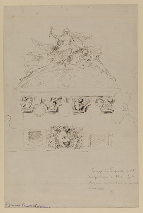 Drawing of the sculptural ornament on the Pavillion de Flore, Palais des Tuileries, Paris