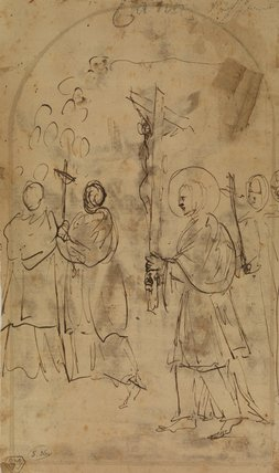Female saint carrying the image of the crucified Christ, in a procession (verso)