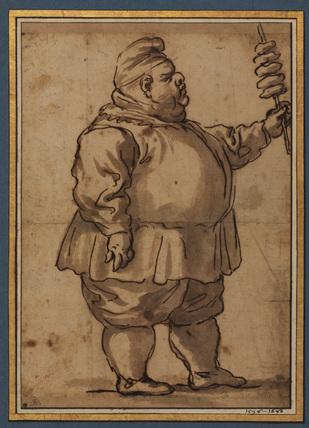Caricature of a man (Mardi Gras) (recto)
