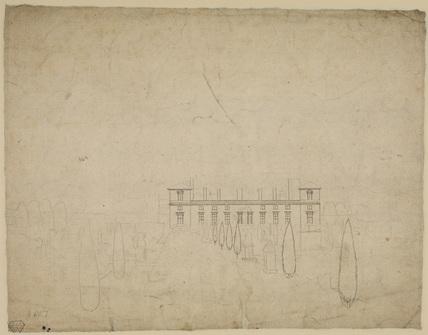 Sketch of a house and garden (verso)
