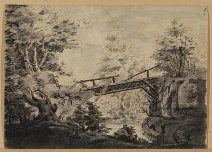 Wood landscape with bridge