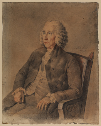 Three-quarter length portrait of a man in a wig, seated and turned to left