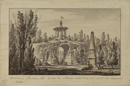 Landscape with obelisk and pavillion