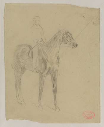 Study of a horse and jockey