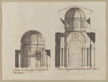 Section of dome and west end of San Salvatore in Lauro, Rome, with unfinished plan of dome
