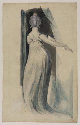 Back view of a full-length female figure