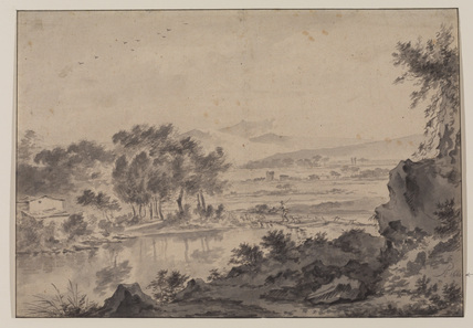 Italianate landscape with a shepherd and sheep crossing a bridge