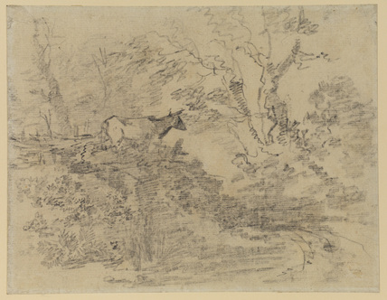Wooded landscape with a cow on a bank