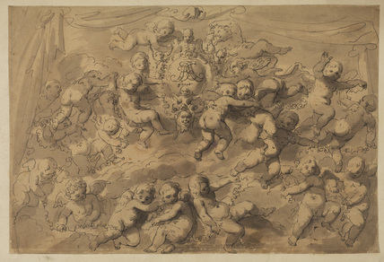 Cupids surrounding a tablet