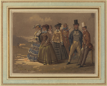Two men exchanging glances with four young ladies