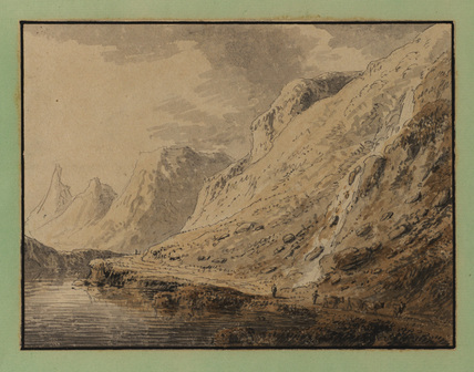 Mountain landscape, with men driving cattle