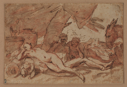 Sleeping nymph and two male figures