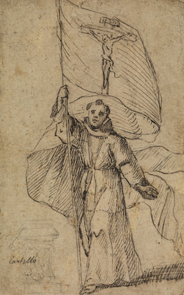 Franciscan monk holding a banner with the Crucifix