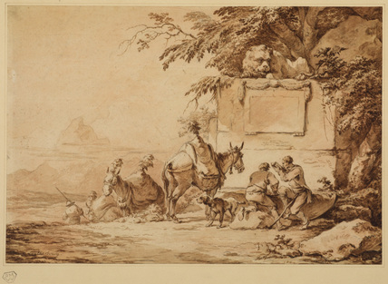 Mules and muleteers at a water trough