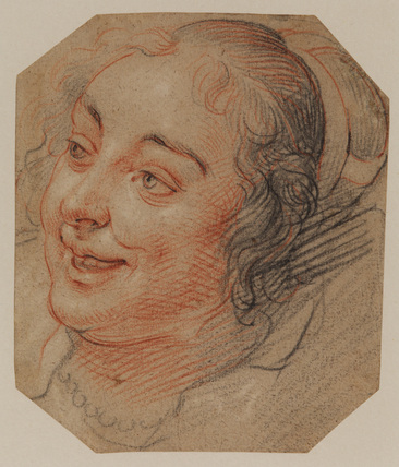 Head of a young woman, laughing