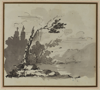 Landscape with a leaning tree