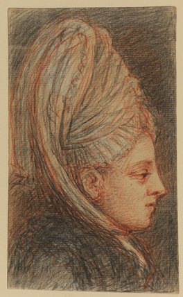 Profile head of woman wearing a large cap
