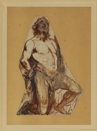 Kneeling male figure - fragment of a sheet
