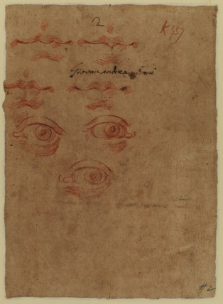 Studies of mouths and eyes (verso)
