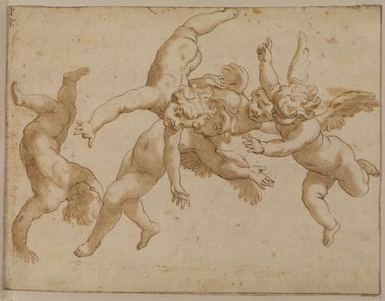 Five flying cherubs