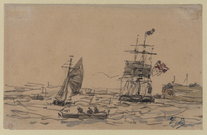 View of Antwerp harbour with sailing vessels and rowing boat