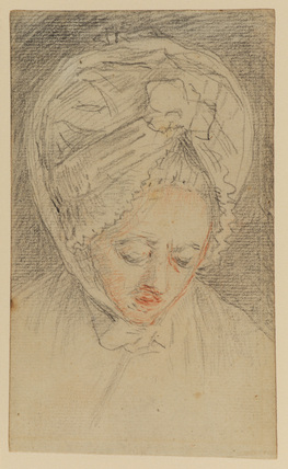 Head of a woman in lace headdress, looking down