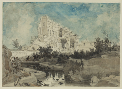 Ruined palace with derelict garden in foreground, with figures armed with rifles and shooting