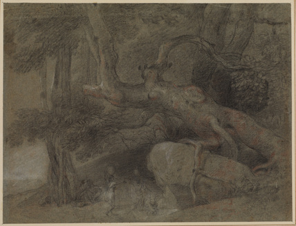 Indian landscape - Natives drinking water from a spring (recto)