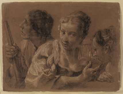 Two girls with a bird cage and a youth with a gun