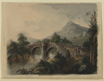 River landscape with figures crossing a stone bridge; mountain in the distance