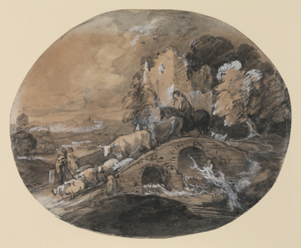 Wooded landscape with herdsman driving cattle over a bridge, and a ruined castle