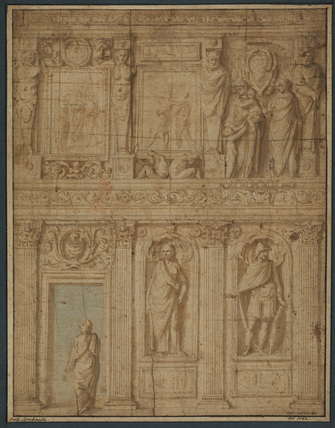 Design for the architectural and sculptural decoration of a wall