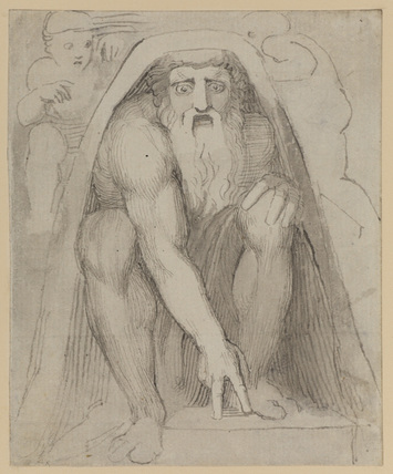 Bearded man seated under a rock