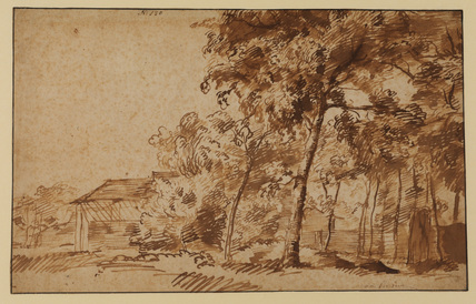 Landscape with trees and houses