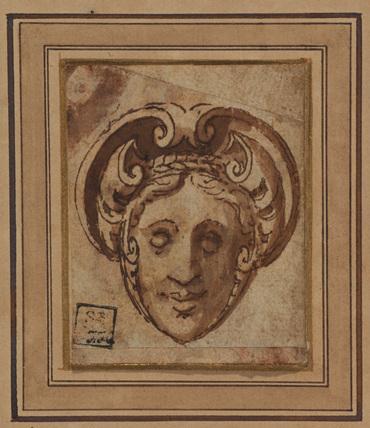 Ornamental head of a woman (recto)