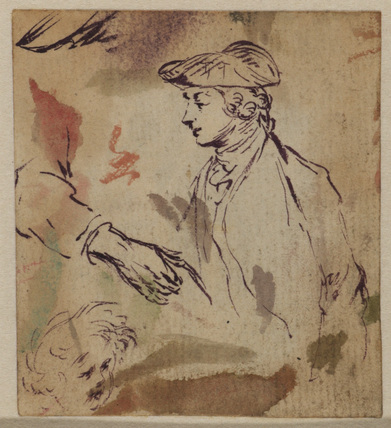 Half length study of a young man, with study of a child's head, an arm and a shoe (recto)