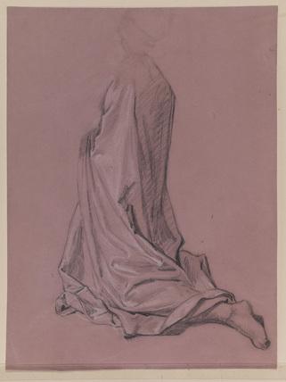 Drapery study - man kneeling (recto)