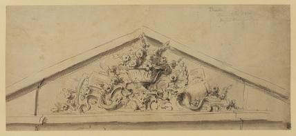 Design for a pediment with ornamental filling (recto)